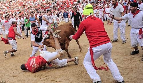 Lạ kỳ lễ hội bò tót rượt người ở Tây Ban Nha - 1