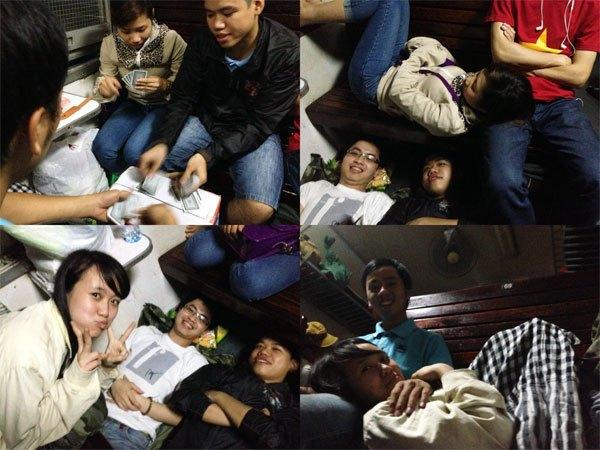 Chúng tớ ngủ trên tàu như này nè ^^