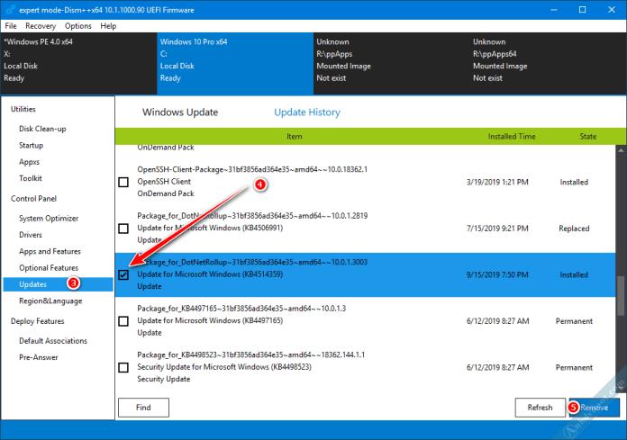 Gỡ bản cập nhật Windows với phần mềm Dism ++ trên WinPE 4