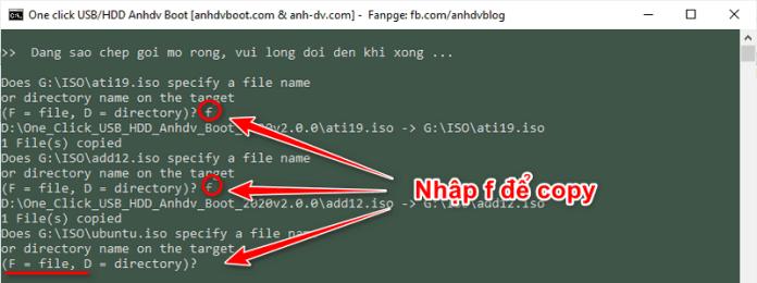 Nhập f khi được hỏi để sao chép gói mở rộng vào Anhdv Boot 2020