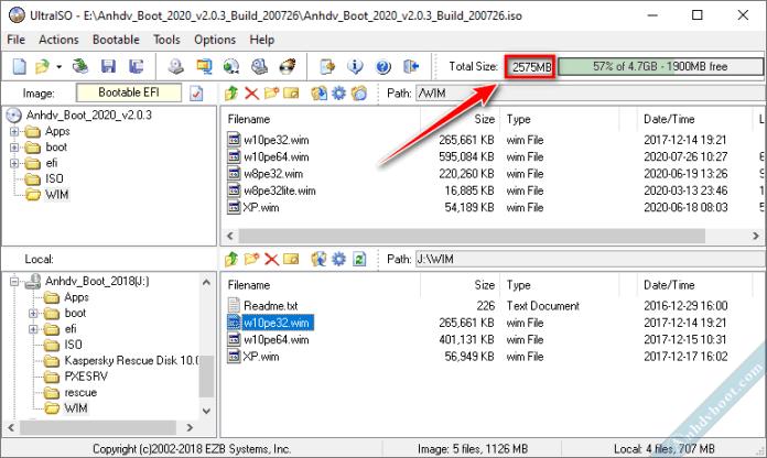 Kiểm tra dung lượng Anhdv Boot sau khi tùy chỉnh.