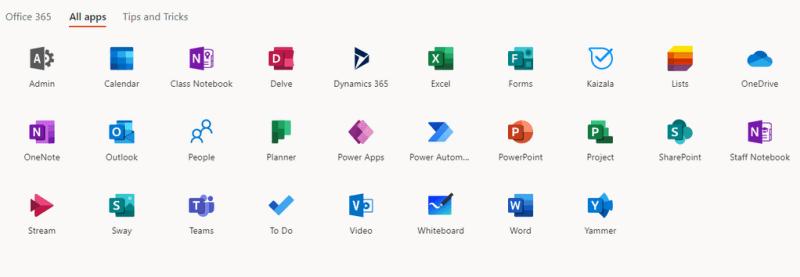 Các ứng dụng trên Office 365 A1 Plus
