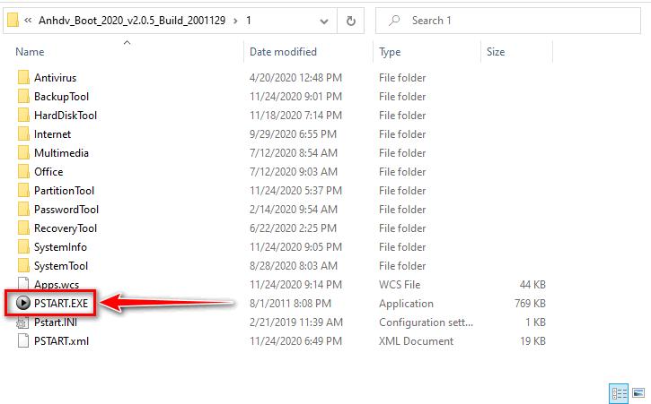Chạy ứng dụng của Anhdv Boot trên Windows -  Thư mục 1