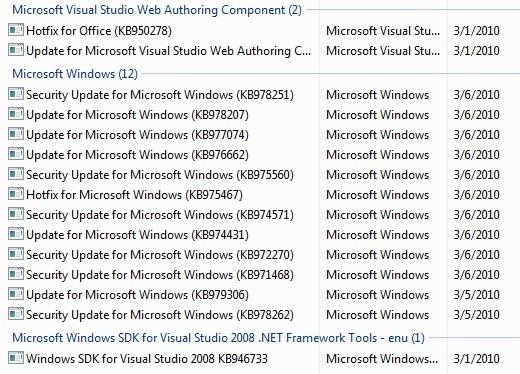 WindowsUpdateList