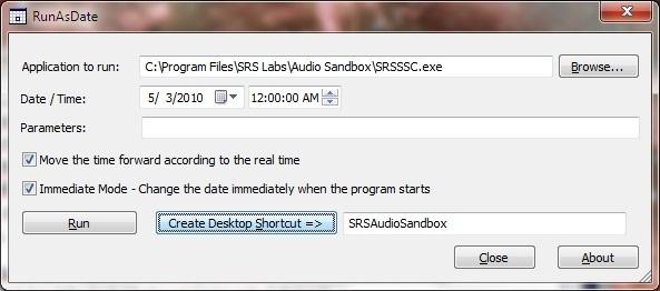 SRS Audio Sandbox - Run As Date