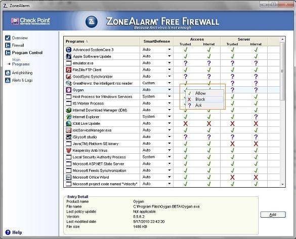 ZoneAlarm Free Firewall 2010