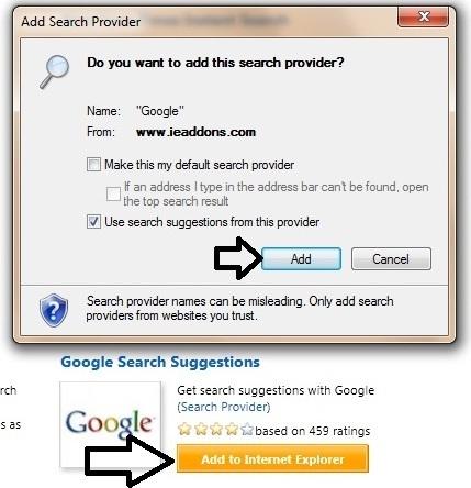 Thay đổi và ngăn ngừa thay đổi công cụ tìm kiếm mặc định trong IE9