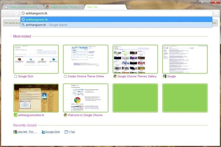 ChromeTheme.Net – Tự làm theme trực tuyến cho Chrome