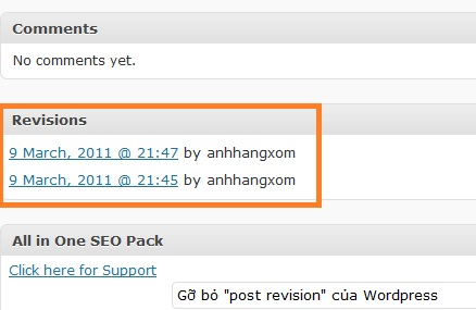 Remove wordpress post revision