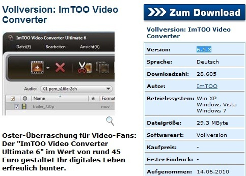 ImTOO Video Converter Ultimate 6 free license key