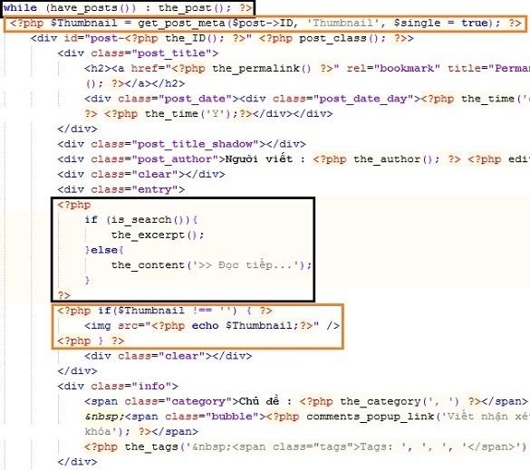 Tạo hình thumbnail cho blog bang custom field