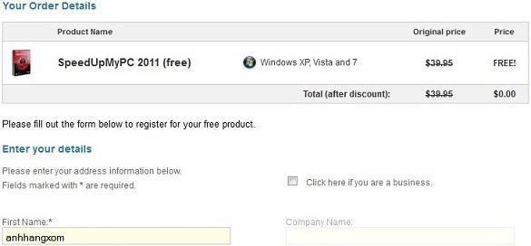 SpeedUpMyPC 2011 - Nhận key bản quyền miễn phí