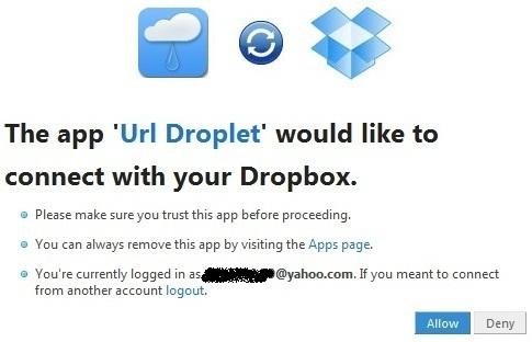 UrlDroplet - Tải file trực tiếp vào tài khoản Dropbox