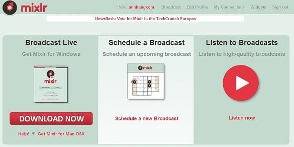 Mixlr - Dịch vụ phát thanh trực tuyến qua mạng Internet