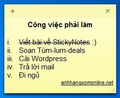 Tạo ghi chú bằng tiếng Việt trong StickyNotes