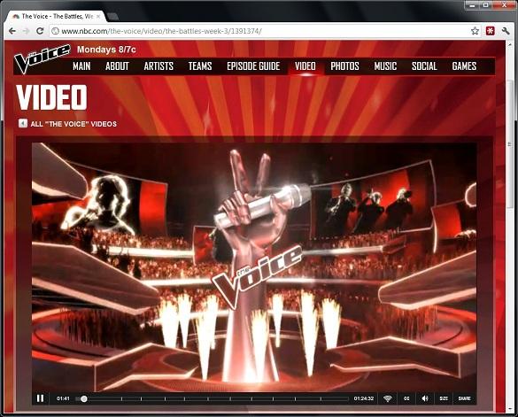 Cách xem 'The voice' trực tuyến từ trang Nbc.com