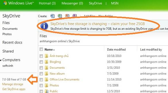 Microsoft SkyDrive chính thức phát hành