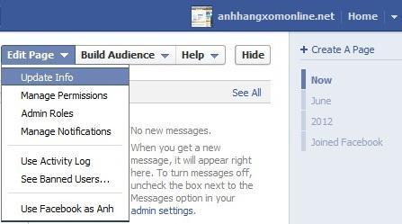 Thay đổi địa chỉ fanpage trên facebook