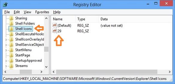 Loại bỏ biểu tượng shortcut trong Windows 8