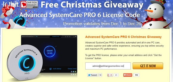 IObit Advanced SystemCare PRO 6 - Nhận key bản quyền miễn phí