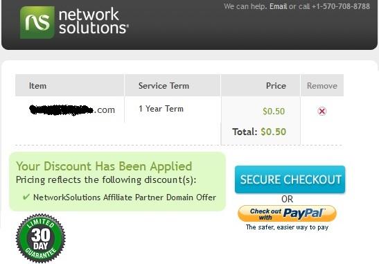 Networksolutions.com khuyến mãi tên miền với giá $0.5