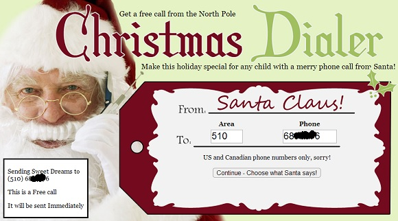 Nhận cuộc gọi miễn phí từ...Ông già Noel