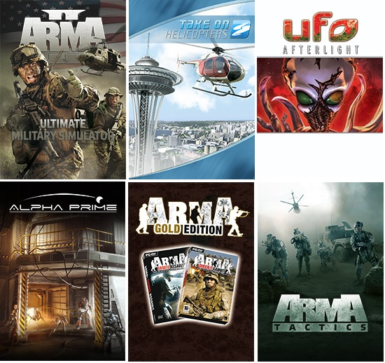 ARMA II, Take On Helicopters, UFO: Afterlight, Alpha Prime, ARMA: Gold Edition and ARMA Tactics