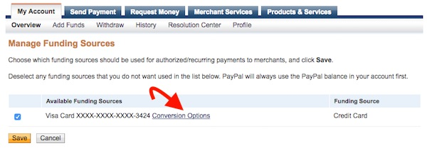 Disable Paypal conversion rate