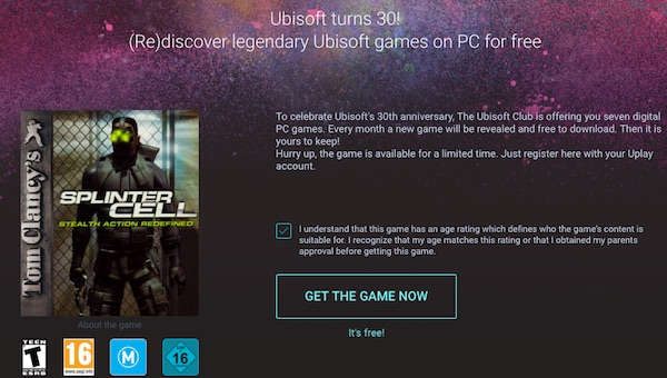 Tom Clancy's Splinter Cell - Bản quyền game miễn phí