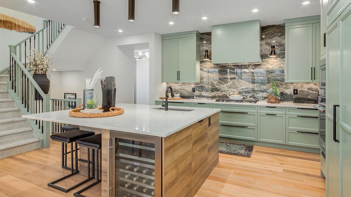 Baywest Homes - interior shot of kitchen with sage cabinets