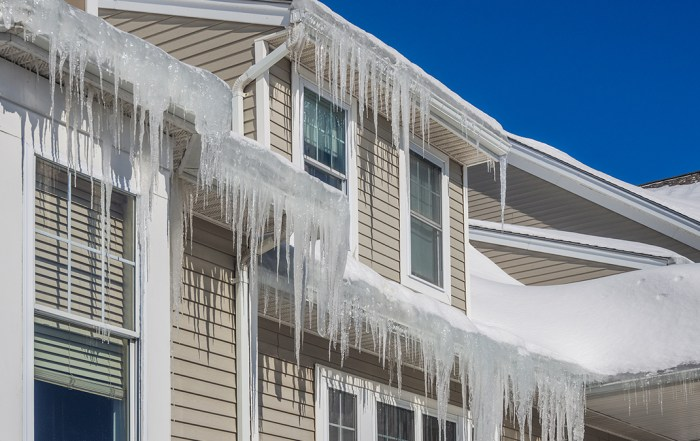 Ice Dams forming on the outside of a home