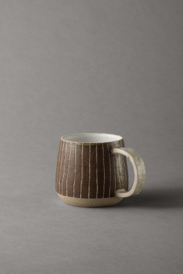 stripy mug with textured handle