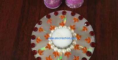 3 ways to decorate CD – Diwali Diya stand