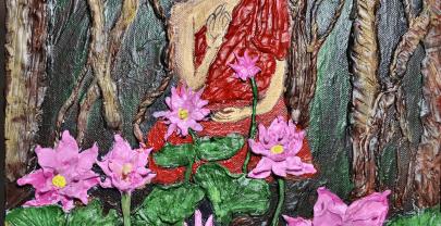 DIY Buddha clay mural painting