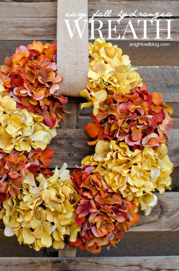 Create this Easy Fall Hydrangea Wreath in minutes to update your decor for the fall!