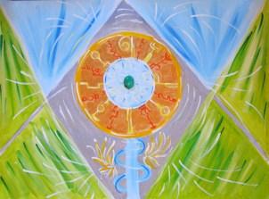 W sercu piramidy odkluczony zamek do mego serca :) ... chryzopraz doprowadził mnie do piramidy i okrągłego zamka z wzorami otwierającymi zamek szyfrowany z gwieździstą misą wody pośrodku...