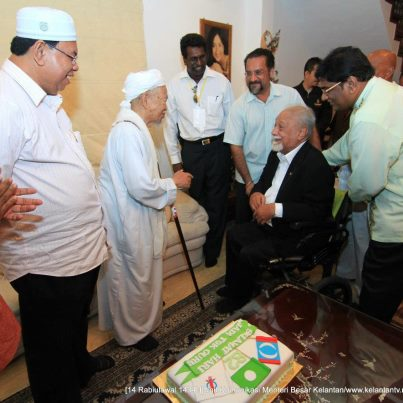 Karpal welcomes the birthday boy, Nik Aziz