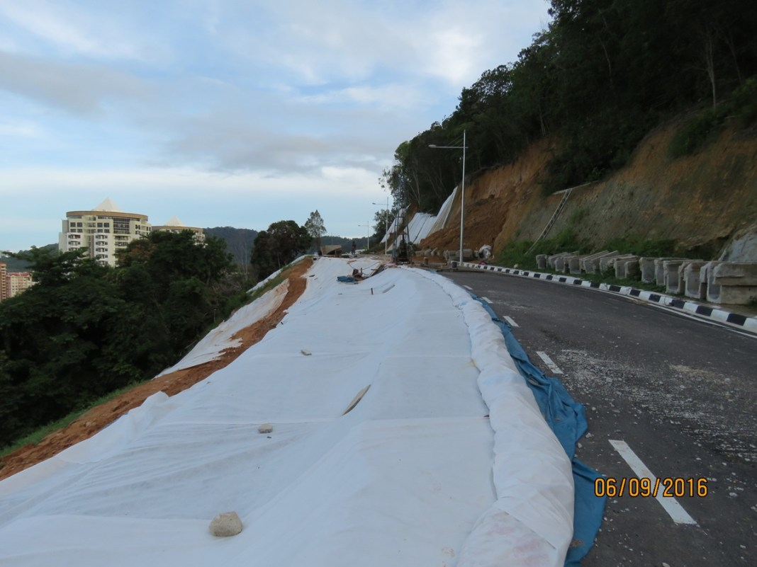 A hill-slope road under construction appears to have partially collapsed - Photograph: A concerned Tanjung Bungah resident