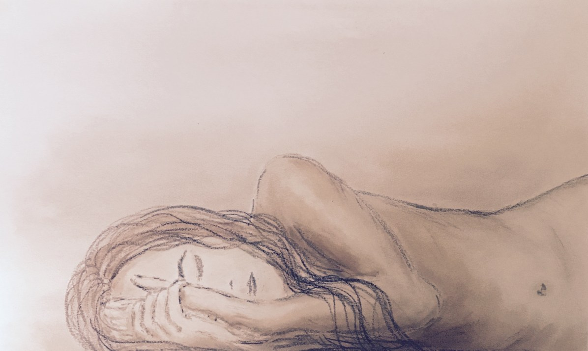 """By Medea van Schijndel May 12th - ME awareness day. Since I'm predominantly bed-bound but refuse to become invisible by this disease, or let my story be told with the wrong ideas about ME, I figured maybe I should join the #MillionsMissing events today with a drawing of my utterly crashed and naked self. In the absence of other means to properly communicate, last year I attempted to make an expression of how this illness forces me into seclusion, but I never got to finish it as I became too freaking ill. Because music is often too much to process for my hyperacusic brain, leaving me in a PEM-crash after listening, I want to bring to the attention Anil's awareness campaign in silence. However, as it represents one of my most debilitating symptoms (which put me at risk of disappearing from the outside world and into the wrong story), I want to title this drawing after one of Bear McCreary's songs from Unrest: """"No thoughts, no words."""" With this post I wish to transform silence into action."""