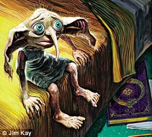"""Pelo amor do elfo: """"Dobby foi uma tarefa difícil, porque ele é muito popular. Ele é mais amplamente descrito no livro que a maioria dos personagens. Seus olhos devem ser do tamanho de bolas de tênis, mas no momento em que você fizer isso, ele fica muito parecido com os desenhos da Disney. Fiz um modelo de plasticina e o posicionei. Esta imagem foi a minha quarta tentativa""""."""