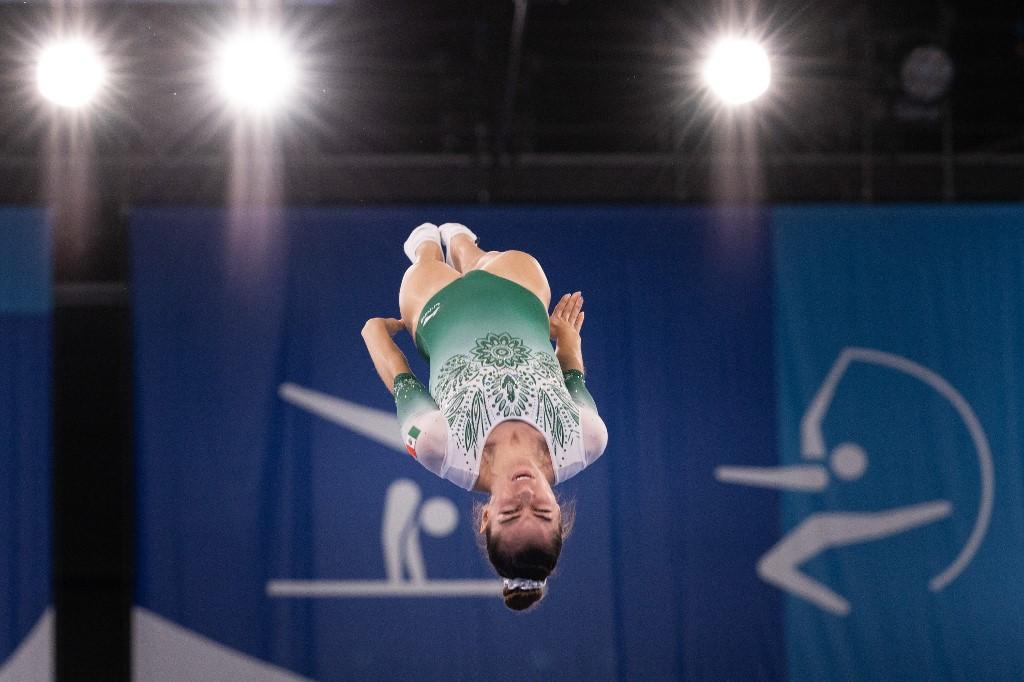 Dafne Navarro es una de las mejores gimnastas del mundo en salto en trampolín. Foto: Yuki Iwamura   AFP