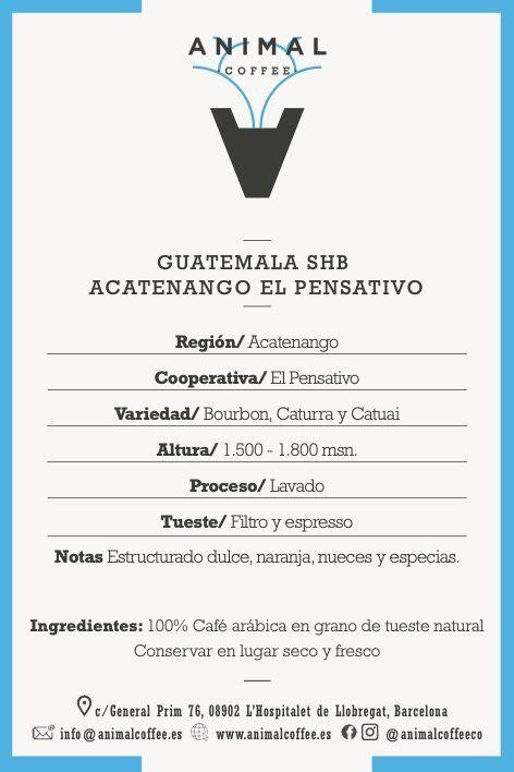 Café de Guatemala. Notas y especificaciones