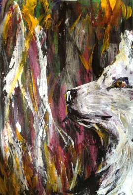 """Lakota Spirit,"" Acrylic on paper, 12 x 28, 2012, $200"