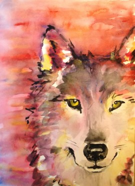 """Fire Wolf,"" watercolor on paper, 9"" x 12"", 2013, $100 
