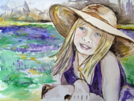 """Little Girl in the Bluebells"" watercolor on paper, 9"" x 12"" 2014"