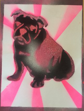 Bulldog Pride 7; Spray paint on paper, 9 x 12, $20