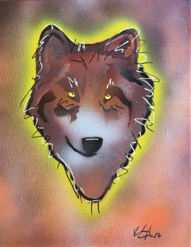 Wolf Pop 2; Spray paint and acrylic pen on stretched canvas, 11 x 17, $50