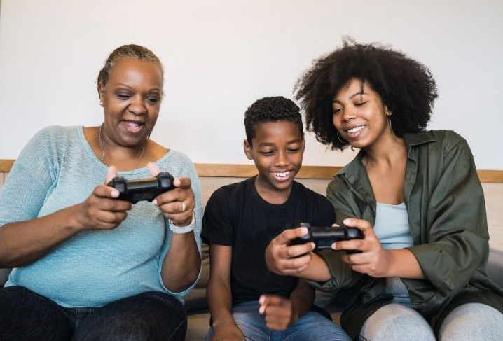 Family using screen time together