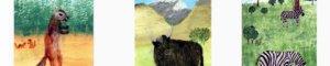 Xerus Squirrel, Yak and Zebra paintings