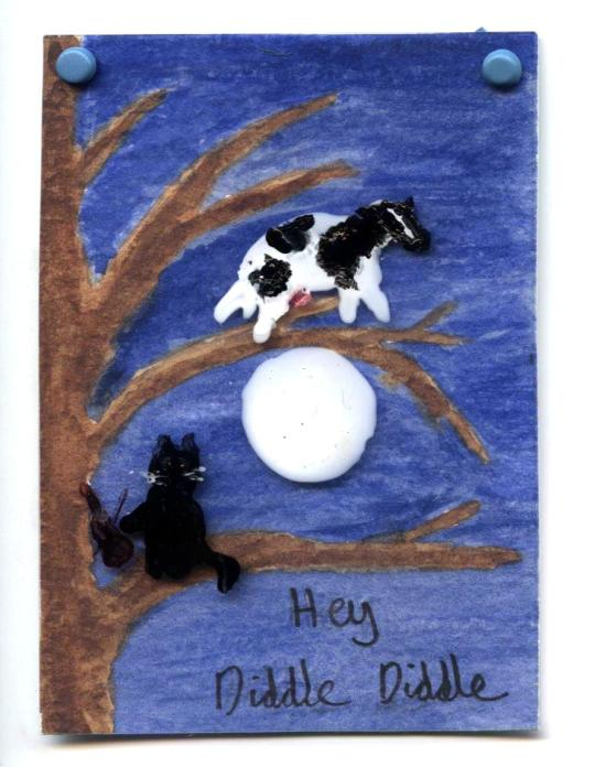 A miniature painting based on the nursery rhyme hey diddle diddle, with a cat and cow